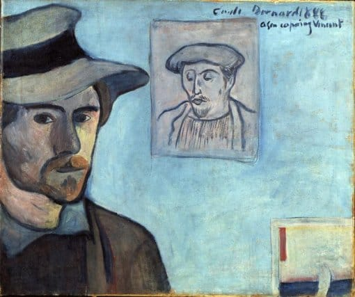 Émile Bernard; Self-portrait with portrait of Gauguin, dedicated to Vincent van Gogh, 1888