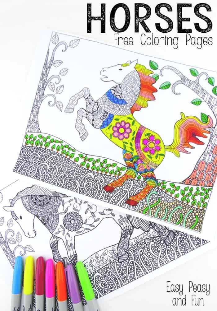 Horses Free Coloring Pages