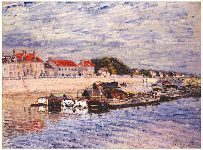 Alfred Sisley, Barges on the Loing at Saint-Mammes, 1885