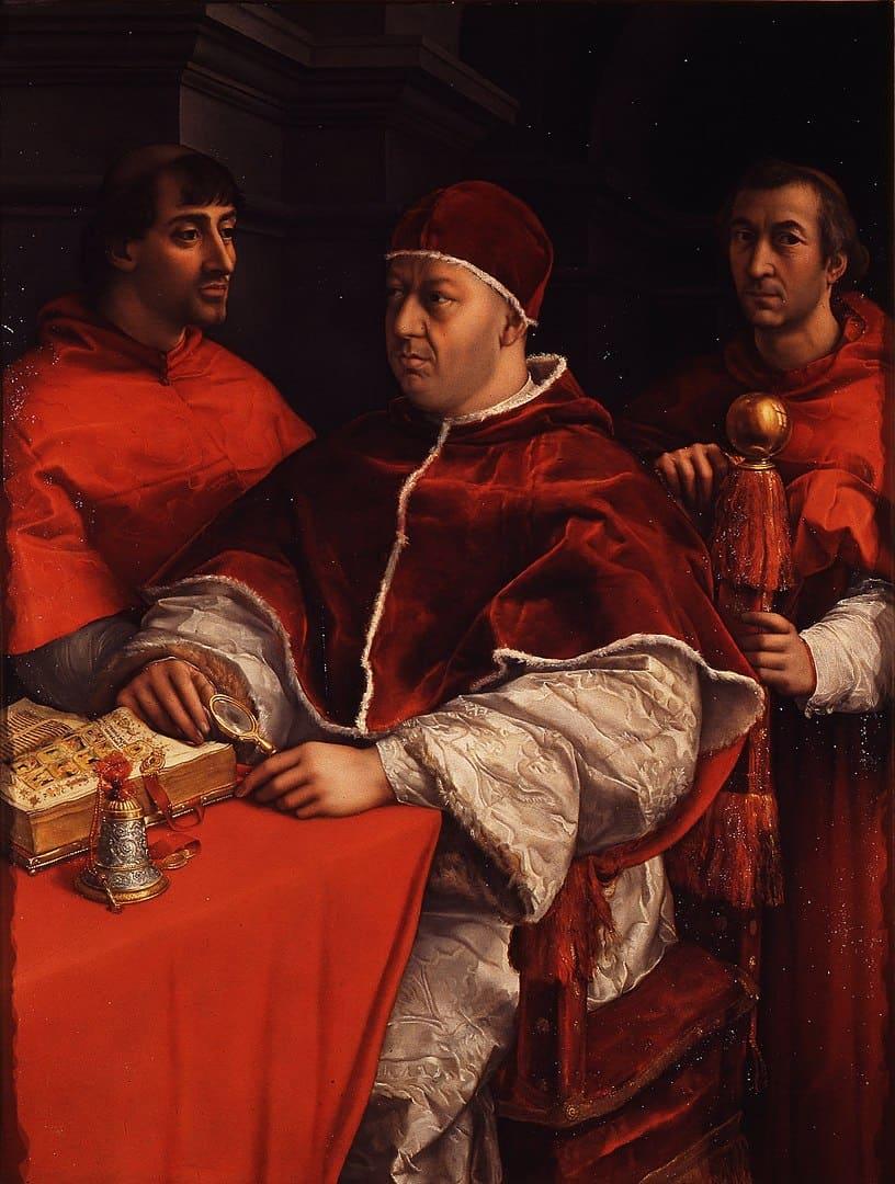 Raffael, Porträt des Papstes Leo X. mit Kardinälen, 1518 - 1519